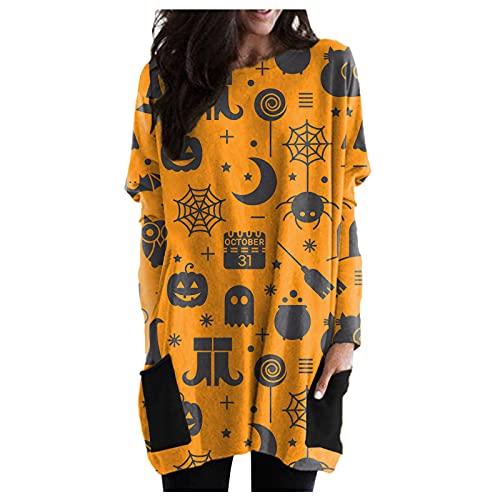 Letdown Womens Halloween Pumpkin Print Pullover Sweatshirts O Neck Logn Sleeve Party Mini Dress with Pockets Long Tops Blouse Black