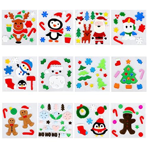 12 hojas de pegatinas navideñas para ventanas navideñas navideñas gelatinas de gel para ventanas calcomanías decorativas para ventanas navideñas copo de nieve pegatinas navideñas para ventanas muñeco ⭐