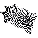 MustMat Cute Faux Zebra Print Rug Animal Print Rug Perfect Throw Rug for Office/Kids Room/Under Tables/Smaller Area 3.6x2.3 feet