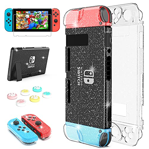 Daydayup Dockable Crystal Case for Nintendo Switch, Glitter Bling Cover with Screen Protector 6 Pcs Thumb Grips Shock-Absorption and Anti-Scratch Design Protective Case - Crystal Glitter