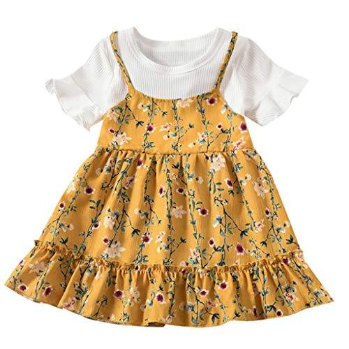 Weant Baby Kleidung Mädchen Outfits 2pc Rüschen Tops + Floral Elegant Prinzessin Partykleid Sommerkleid Prinzessin Kleid Kinder Kleider Baby Bekleidungssets Neugeborenen Bekleidungset 0-6 Monate
