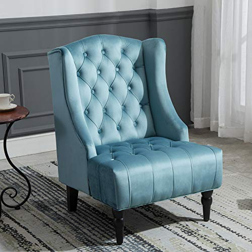 Artechworks Velvet Tufted High Back Accent Chair for Living Room, Bedroom, Home Office, Hosting Room, Wingback Club Chair, Teal Green
