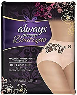 Always Discreet Boutique Incontinence, Maximum Protection, Large, 10 Underwear (Pack of 2)