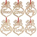 i4sweet Wooden Letter Hollow Gift Tags Festival Ornaments Pendant Set of 24 Peace- Joy-Faith-Noel-Love-Hope Xmas Hanging Handmade DIY Crafts Supplies for Gifts Decor