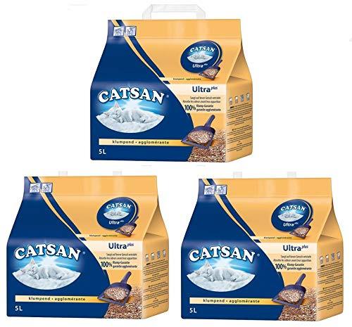 Catsan Clumping, Arena para gatos, 5 L, pack de 3