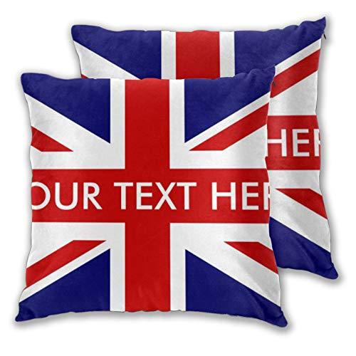 KCOUU Funda de cojín de microfibra suave decorativa de la bandera inglesa americana, funda de almohada cuadrada para sofá dormitorio con cremallera invisible 45,7 x 45,7 cm, juego de 2