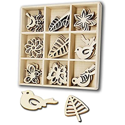 Wooden Embellishments YuQi Laser Cut Blanks Slices 45pcs Heart Shapes Nature Decorations for Kids