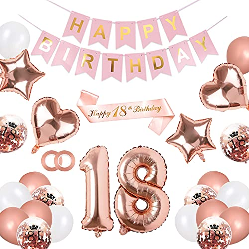 """Juego de 18 cumpleaños para niña color oro rosa, decoración para 18 cumpleaños – Guirnalda """"Happy Birthday"""", banda, globos de confeti, globos con forma de corazón para niñas, decoración de cumpleaños"""