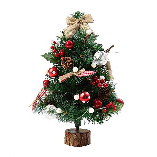 Prelit Christmas Tree with Lights Artificial Flocking Holiday Christmas Tree for Home, Office, Party Decoration 20 Inch Small Christmas Tree (20 inch, Multicolor)