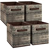 Sorbus Foldable Storage Cube Basket Bin, Rustic Wood Grain Print, 4-Pack (Rustic Bin - Brown)