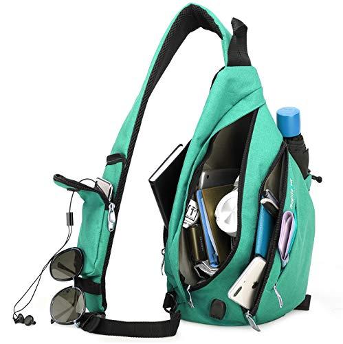 Magictodoor Sling Bag for Men Women Travel Packs Chest Backpack w/Anti-theft RFID Blocking Pocket & USB Charging Port (Green)