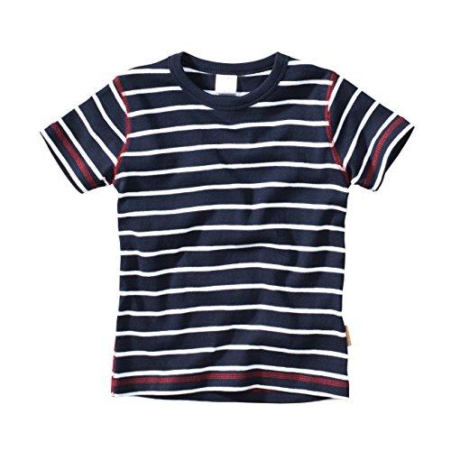 wellyou, Kinder Kurzarm T-Shirt, dunkel-blau Weiss, Geringelt, für Jungen, 100% Baumwolle, Größe 140-146