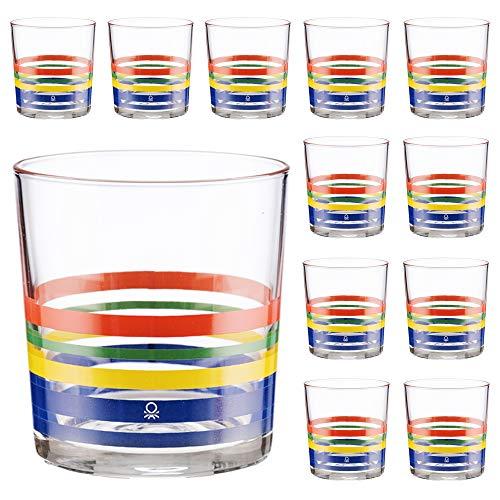 UNITED COLORS OF BENETTON. PK2001 Set cristalería 12 piezas de vasos de vidrio, decorados, 33 cl, Cristal, Rayas finas