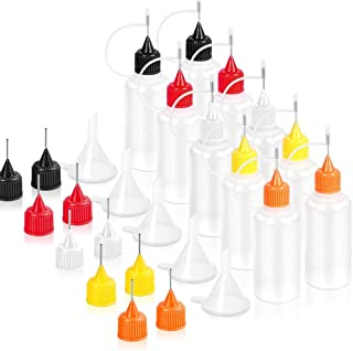 10 Pcs Precision Tip Applicator Bottles & 10 Additional Applicator Tips & 5 Pcs Mini Funnel, Quilling Tool Precision Bottle for DIY Craft, Acrylic Painting, 30 ml/1 Ounce