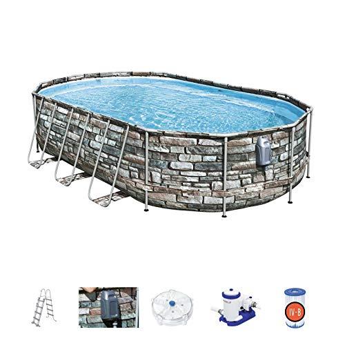 Mejor entrada 56719 | Power Steel - Piscina ovalada sobre el suelo, 610x366x122 cm, bomba de filtrado, escalera, luces LED y consola de chorro de confort, efecto piedra