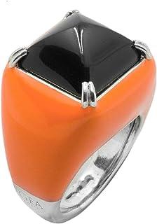Poliegos French Orange - Anello donna in argento smaltato e pietra naturale