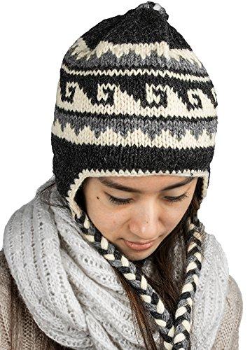 Tribe Azure Fair Trade Soft Warm Wool Hat Cap Winter Fleeced Inside Thick Ear Flaps Women Fashion (Grey)