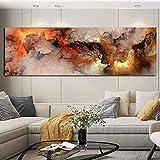 Nórdico, moderno, simple, póster de pinturas para habitaciones, naranja, blanco, humo, textura, lienzo abstracto, cuadro de pared para el mural de la sala de estar, 40x120cm (16x47in) con marco