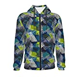 Abstract Geometric Pattern Urban Element Worn Triangle Neon Spray Paint Youth Zip Hoodie Youth Personality Comfortable Sports Kangaroo Pocket