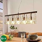 Lampenwelt Pendelleuchte 'Matei' dimmbar (Kristall) in Braun aus Kristall u.a. für Wohnzimmer & Esszimmer (5 flammig, E14, A++) - Deckenlampe, Esstischlampe, Hängelampe, Hängeleuchte,