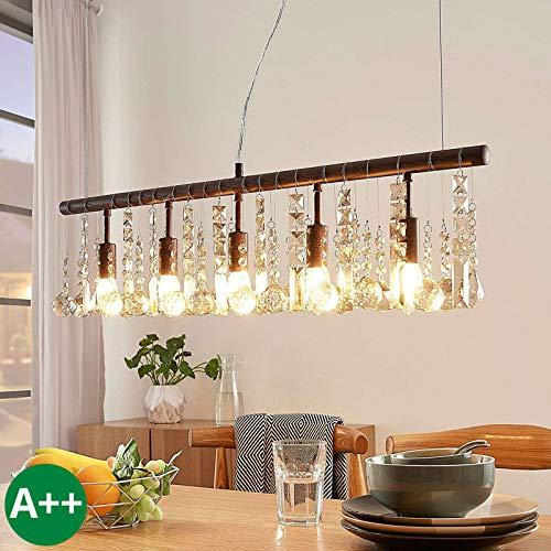 Lampenwelt Pendelleuchte \'Matei\' dimmbar (Kristall) in Braun aus Kristall u.a. für Wohnzimmer & Esszimmer (5 flammig, E14, A++) - Deckenlampe, Esstischlampe, Hängelampe, Hängeleuchte,