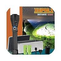 250000グレアxhp90.2最も強力な懐中電灯usb充電式トーチxhp50 xhp70ハンドランプバッテリーフラッシュライト、FHS402A1、ブラック