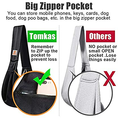 TOMKAS Small Dog Cat Carrier Sling Hands Free Pet Puppy Outdoor Travel Bag Tote Reversible (Brown) 2