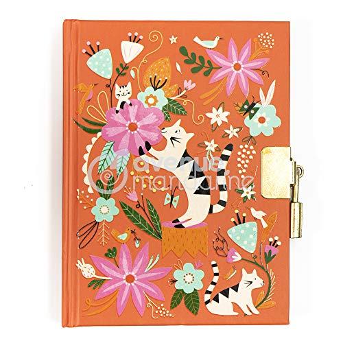 Avenue Mandarine CO206C – Un diario íntimo 240 páginas a rayas, 11 x 14 cm, con cierre de candado, gatos y flores