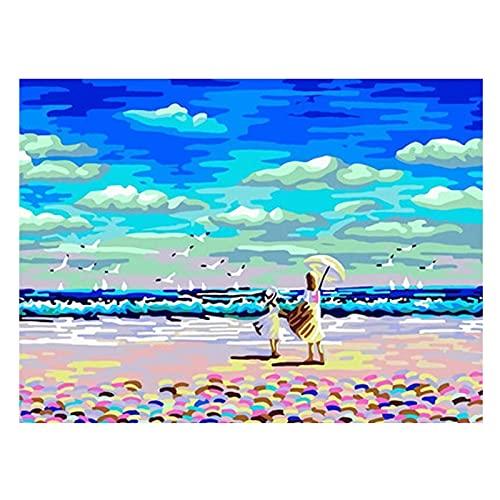 TVVT Arte Pintura Digital Pintura por números Kit para Adultos Acrílico Pintura al óleo Set Azul Mar Azul Azul Llenan la Pintura Decorativa, Paisaje descompuesto y rellen