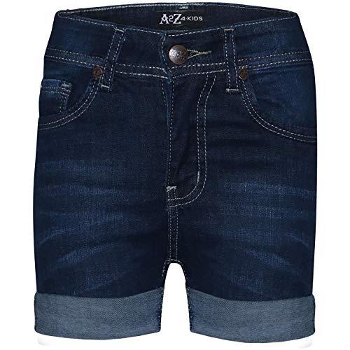 A2Z 4 Kids® Bambini Ragazze Pantalocini Bermuda Magro Scuro Blu Jeans Caldo Pantaloni Estate - Shorts Denim S02 Dark Blue_9-10