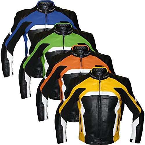 German Wear Motorradjacke Lederjacke Biker lederjacke 4x Farbauswahl, Frabe:Gelb;Größe:XL