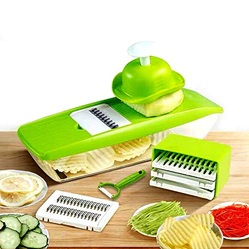 GProME Adjustable Mandoline Slicer Vegetable Spiralizer, Food Slicer 6-in-1 French Fry Cutter, Food Waffle,Julienne Grater- Potato Slicer Zoodle Maker– Sharp Stainless Steel Blades(Green)
