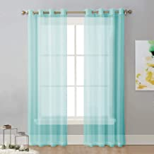 NICETWON Sheer Curtains Voile Drapes - Ring Top Window Treatment Curtain Panels for Sliding Door/Living Room/Patio (54 inches W x 84 inches L, Pool Blue, Set of 2)