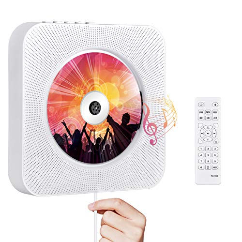 Portable CD Player with Bluetooth, Qoosea Wall Mountable CD Players Music...