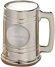 Personalized Metallic Gunmetal Beer Mug - Plain Medallion - Personalized Beer Mug