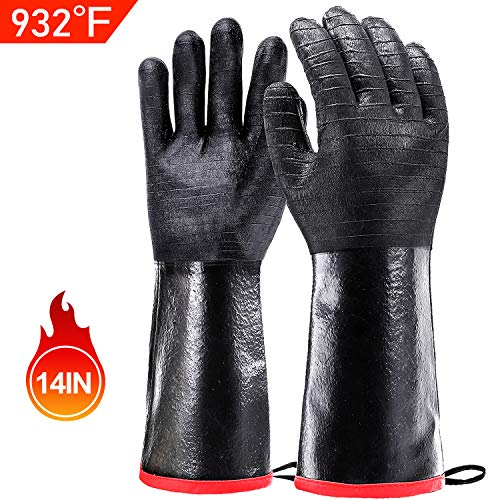 Schwer BBQ Grill Gloves 932℉ Waterproof Grilling Gloves for Turkey Fryer, Baking, Oven, Neoprene Coating with Long Sleeve