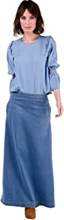USKEES LOTTIE Long Denim Skirt - Palewash Maxi Jean Skirt with Stretch UK 8-22