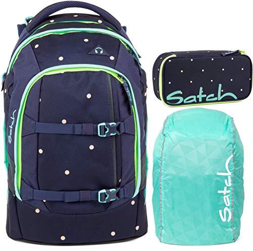 Satch Pack Pretty Confetti 3er Set Schulrucksack, Schlamperbox & Regencape Mint