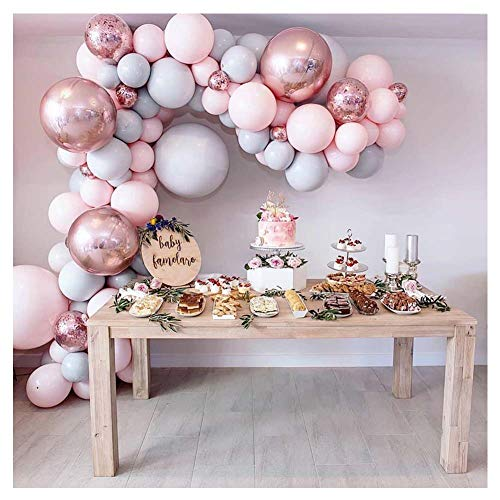 LEKANI 136 Pieces Balloon Garland Kit Balloon Arch Garland for Wedding Birthday Party Decorations(Pink Gray)