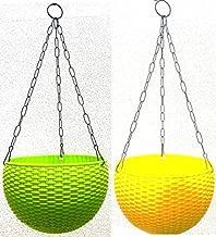Khoji Multicolored Rattan Hanging Pots - A Set of 2 Pots