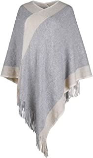 Women Poncho Sweater Patchwork Knitted Shawl Lightweight Bling Warm Pullover Cape