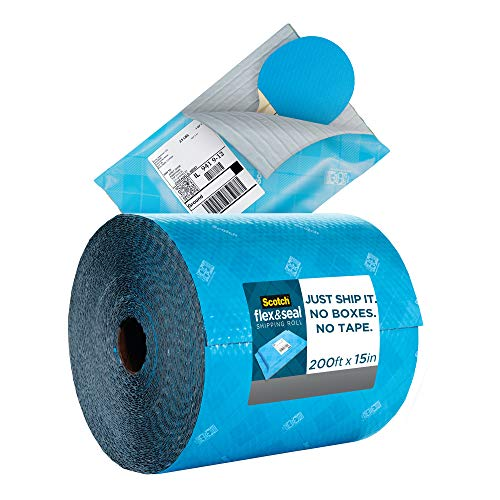 Scotch Flex and Seal Shipping Roll 200 ft x 15 in, Eliminates Time, Supplies, Waste & Space vs. Boxes, Easy Packaging Alternative to Poly Mailers