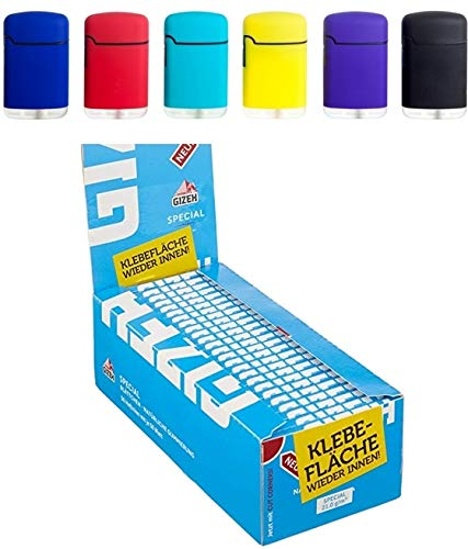 Gizeh - Carta speciale, 50 x 50 pezzi, colore: Blu + 1 pezzo. Easy Torch - Accendino in gomma