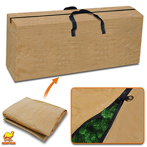 Strong Camel Heavy Duty Large Artificial Christmas Tree Storage Bag for Clean Up Holiday Green Up to 9ft (Tan)