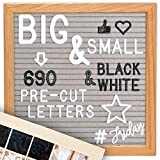 Letter Board +Cursive Words +Stand +Upgraded Wooden Sorting Tray +Canvas Bag| Changeable Felt Message Board, Letterboard, Felt Board, Marquee Sign, Word Board, Sign Board by Little Hippo (Gray)