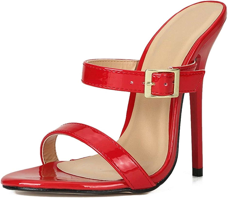 MAIERNISI JESSI Unisex Men's Women's Two Straps Stiletto High Heel Open Back Sandals