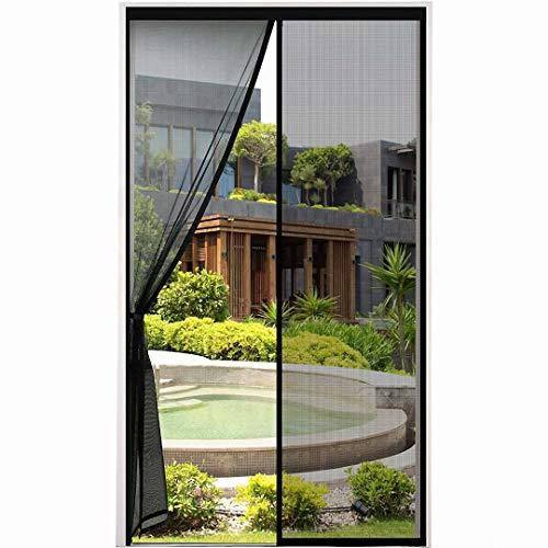 Mosquitera magnética para puerta, parte superior reforzada, cierres de velcro para puerta de balcón, salón, terraza, montaje adhesivo sin agujeros, fácil de montar, color negro B, 100 x 210 cm