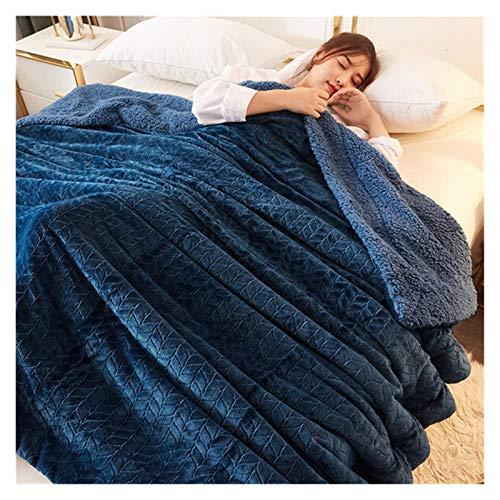 JDJD Fleece Azul Oscuro Mantas Y Tiros Adulto Mantas De Invierno Cálidas Gruesas para Adultos Inicio Super Soft Duvet Mantas De Lujo En Gemelo Cama De Cama Completa Manta De Cama