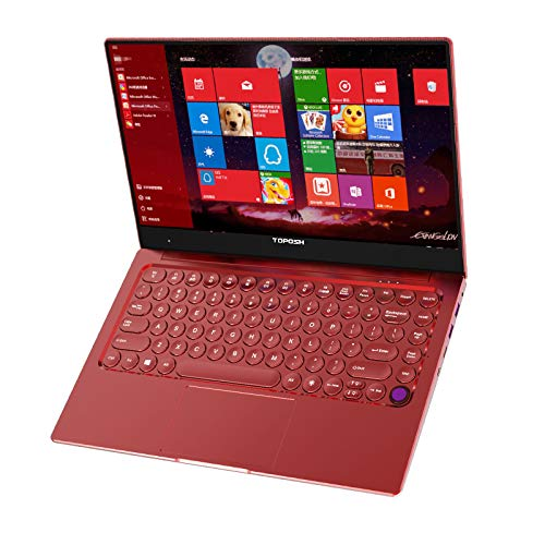 TOPOSH 14 Inches Windows 10 PC Laptop Computer Notebook 8GB RAM 128GB SSD Intel Celeron 3855U 1.8GHz CPU Processor Netbook with Fingerprint Unlock 3 Brightness Backlit Keyboard Metal Housing- Red