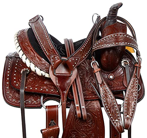 """Acerugs 10"""" 12"""" 13"""" 14' Children Youth Kids Western Hand Carved Leather Roping Rodeo Ranch Horse Saddle TACK Set (13)"""